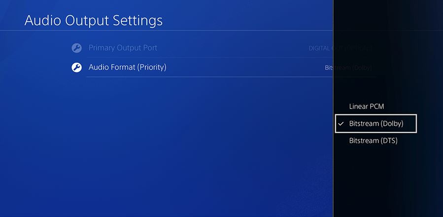 Bistream (dolby digital/dts) with sony PS4
