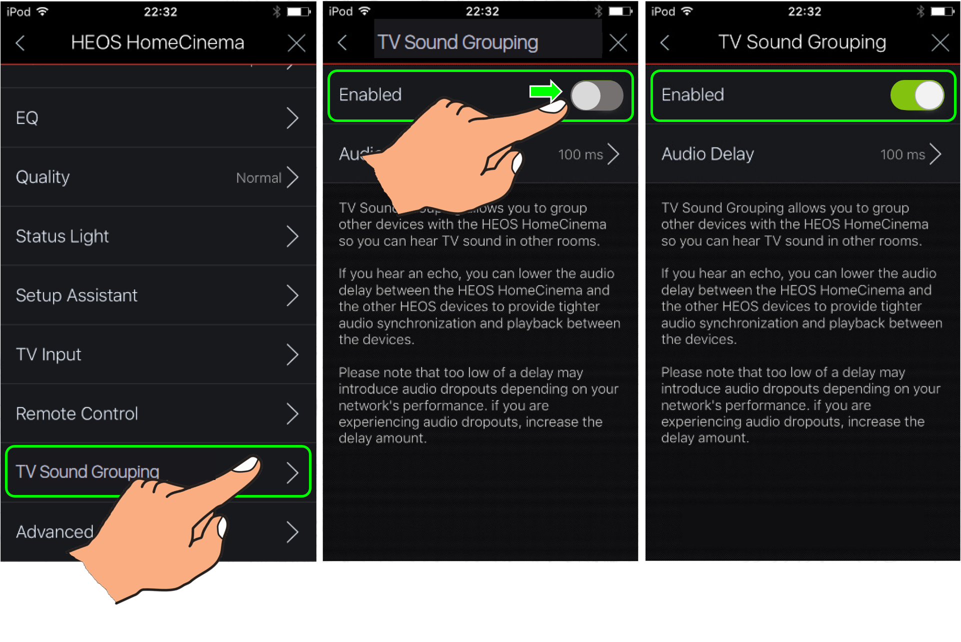 TV Sound Distribution throughout Grouped HEOS Devices in